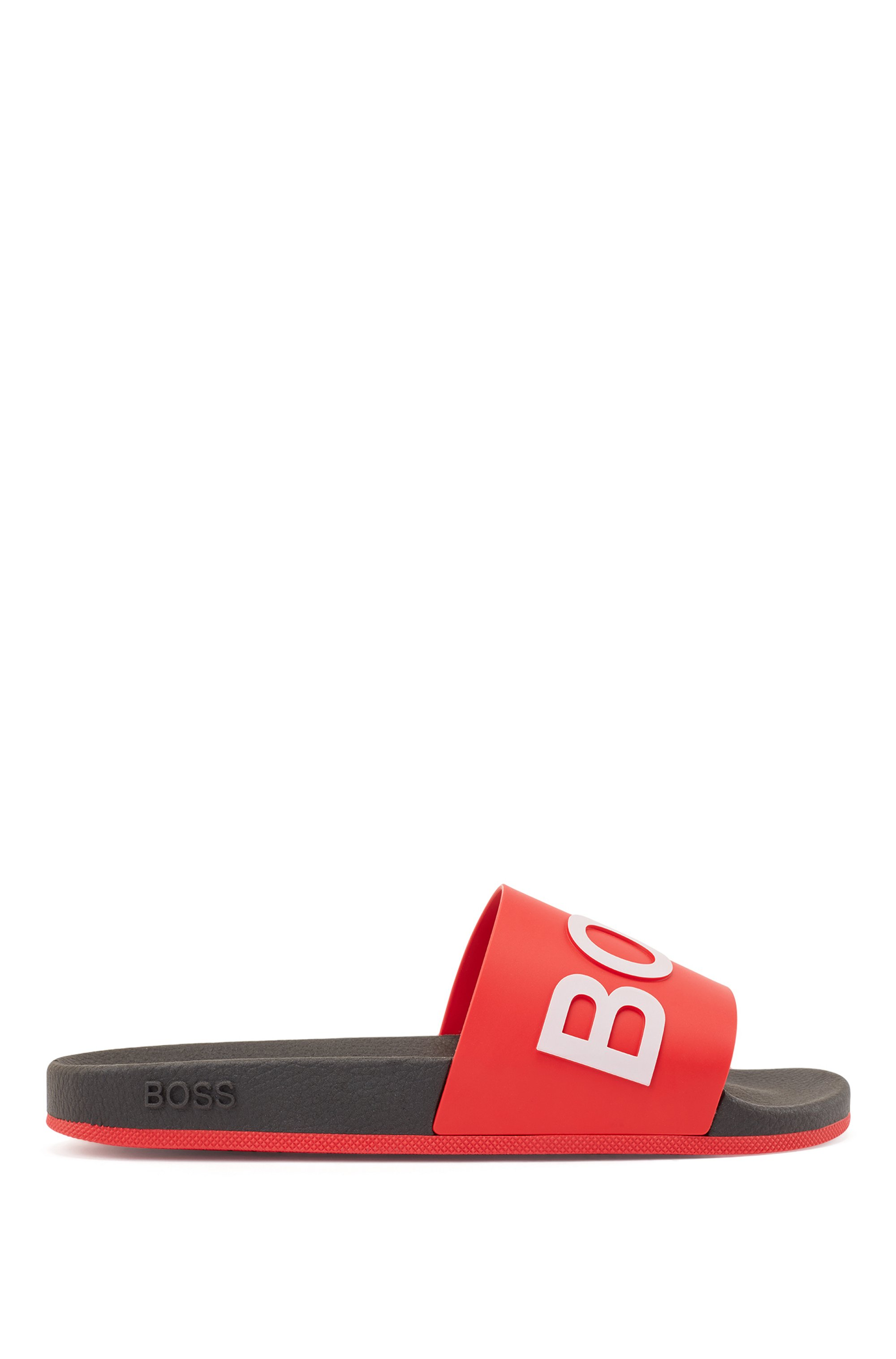Logo slides with monogram-embossed outsole, Light Red