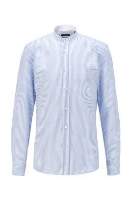Slim-fit evening shirt in striped cotton-linen, Light Blue