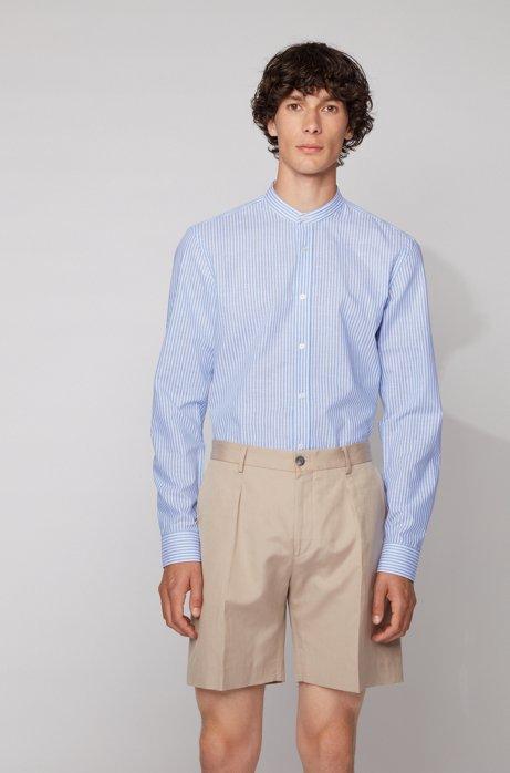 Camicia da smoking slim fit in misto cotone e lino a righe, Celeste