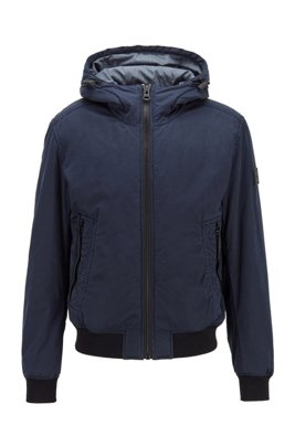 Garment-dyed hooded jacket with partially recycled padding, Dark Blue
