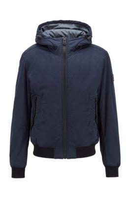 Veste à capuche teinte en pièce, avec garnissage partiellement recyclé, Bleu foncé