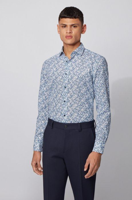 Slim-fit shirt in floral-print cotton and linen, Dark Blue