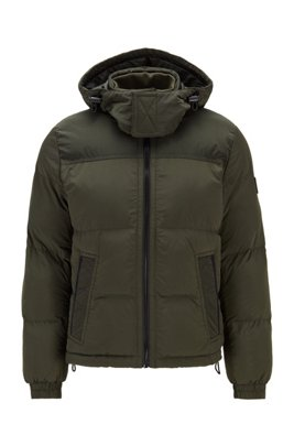 Garment-dyed jacket with recycled filling and detachable hood, Dark Green