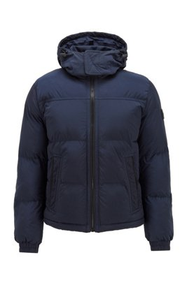 Garment-dyed jacket with recycled filling and detachable hood, Dark Blue