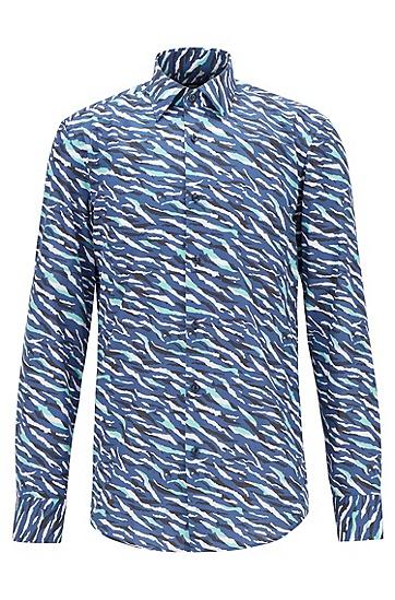 男士抽象动物印花棉质修身衬衫,  407_暗蓝色