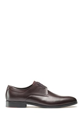 Derby shoes in polished leather with signature details, Dark Red