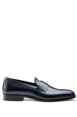 Polished-leather loafers with modern vamp, Dark Blue