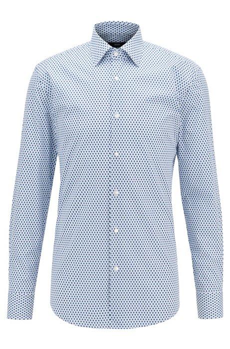 Slim-fit shirt in stretch cotton with geometric print, Dark Blue