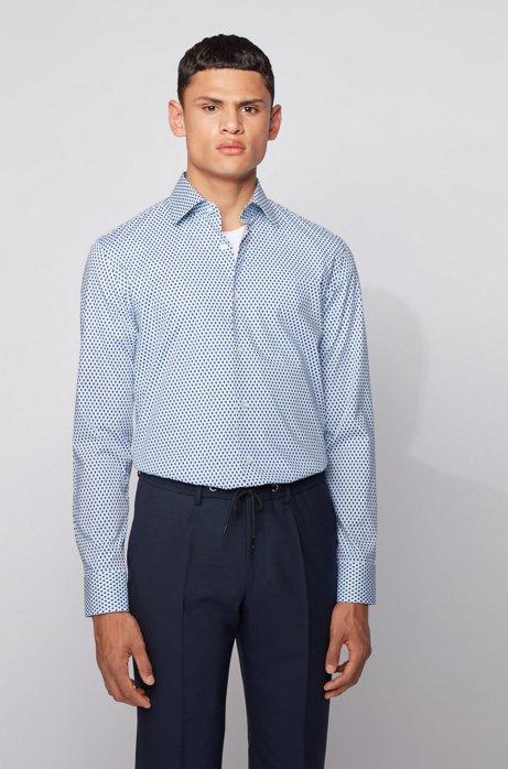 Slim-Fit Hemd aus Stretch-Baumwolle mit geometrischem Print, Dunkelblau
