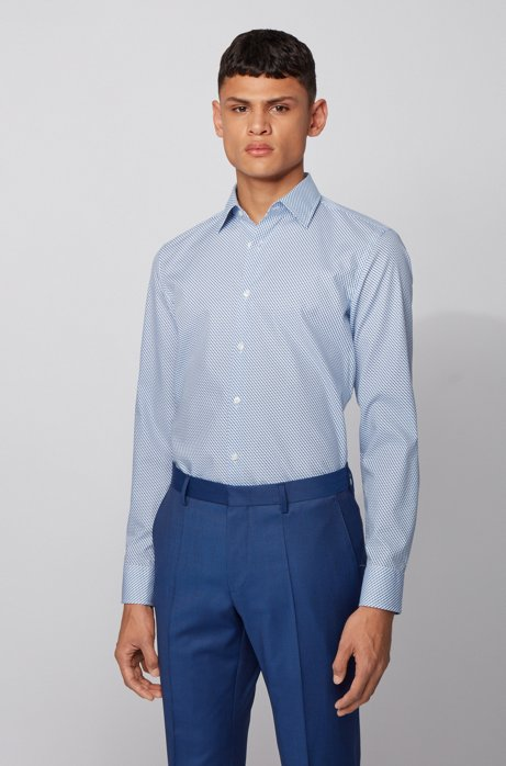 Camicia slim fit stampata con finitura all'aloe vera, Blu