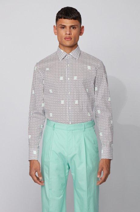 Slim-fit shirt in monogram-print stretch-cotton poplin, Dark Blue