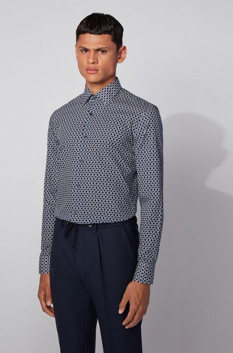 Bedrucktes Slim-Fit Hemd aus italienischer Baumwolle, Dunkelblau