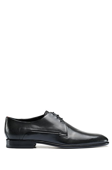 Printed-leather Derby shoes with full-leather sole, Black