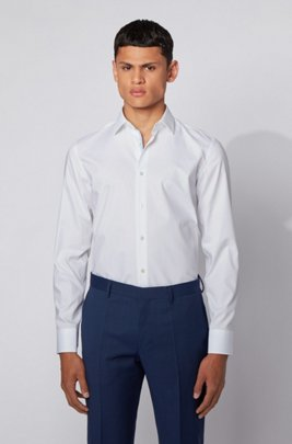 Slim-fit shirt in easy-iron Austrian cotton, White