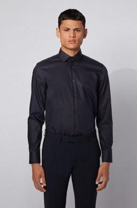 Slim-Fit Hemd aus bügelleichter österreichischer Baumwolle, Dunkelblau