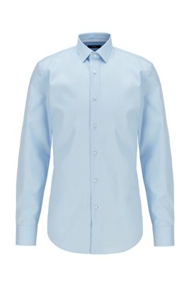 Slim-fit shirt in easy-iron Austrian cotton, Light Blue