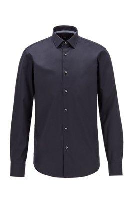 Regular-fit shirt in easy-iron Austrian cotton, Dark Blue