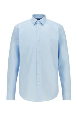 Regular-fit shirt in easy-iron Austrian cotton, Light Blue