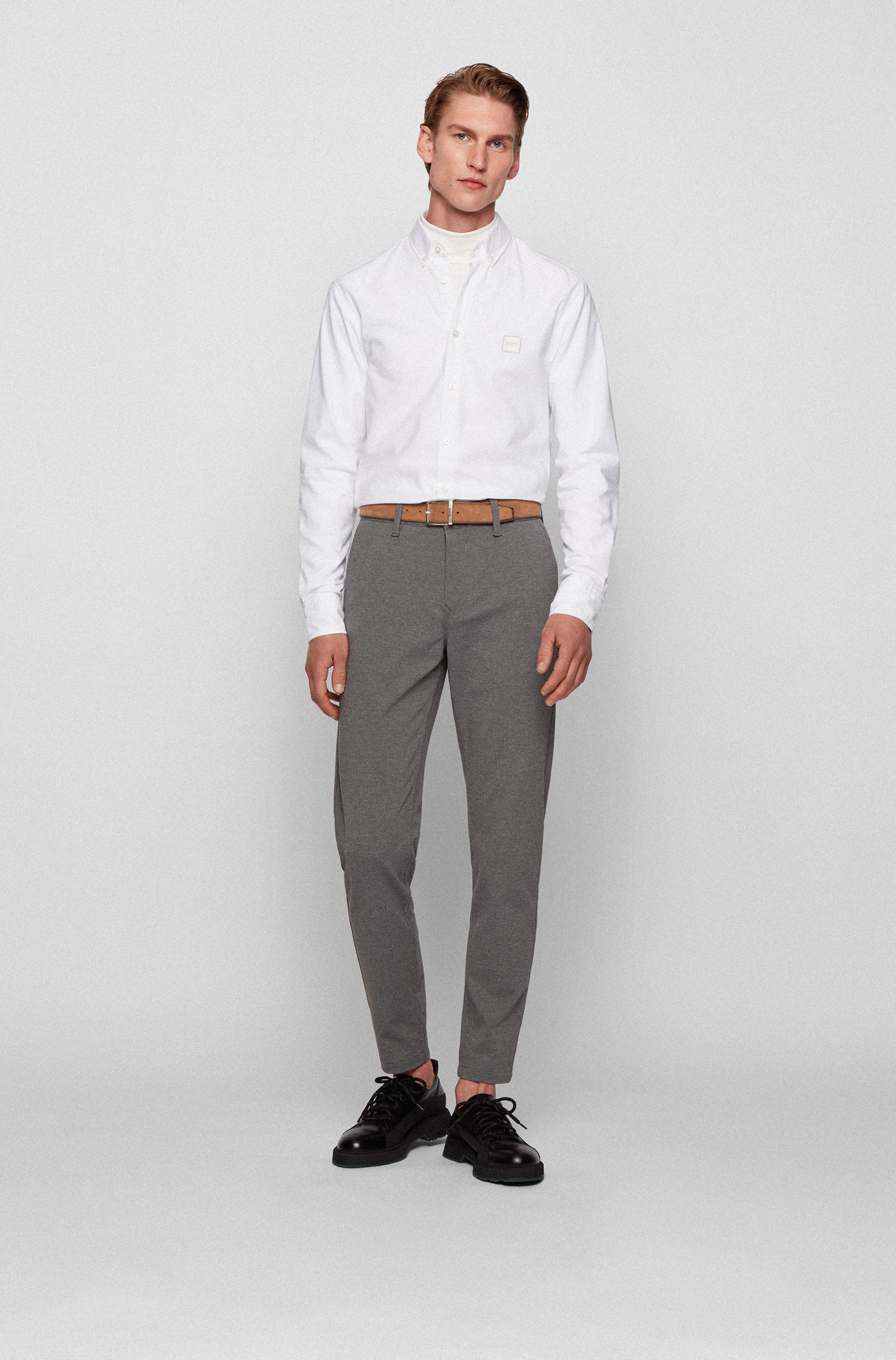 Oxford-cotton slim-fit shirt with jacquard logo patch