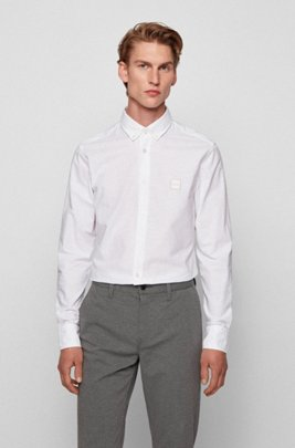 Oxford-cotton slim-fit shirt with jacquard logo patch, White
