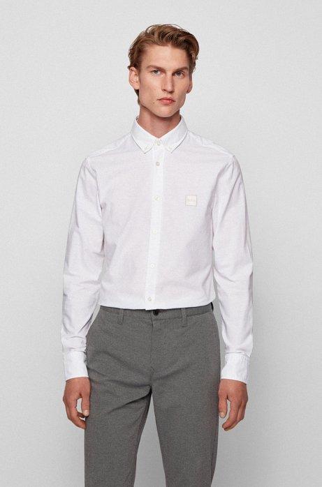 Chemise Slim Fit en coton Oxford à patch logo jacquard, Blanc