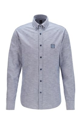 Oxford-cotton slim-fit shirt with jacquard logo patch, Dark Blue