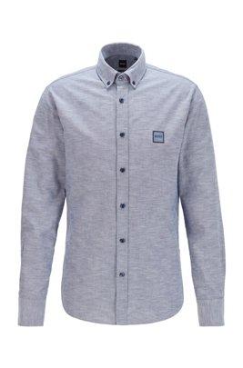 Camicia slim fit in cotone Oxford con toppa con logo jacquard, Blu scuro