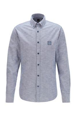 Camisa slim fit de algodón Oxford con logo en tejido jacquard, Azul oscuro