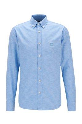 Camisa slim fit de algodón Oxford con logo en tejido jacquard, Celeste