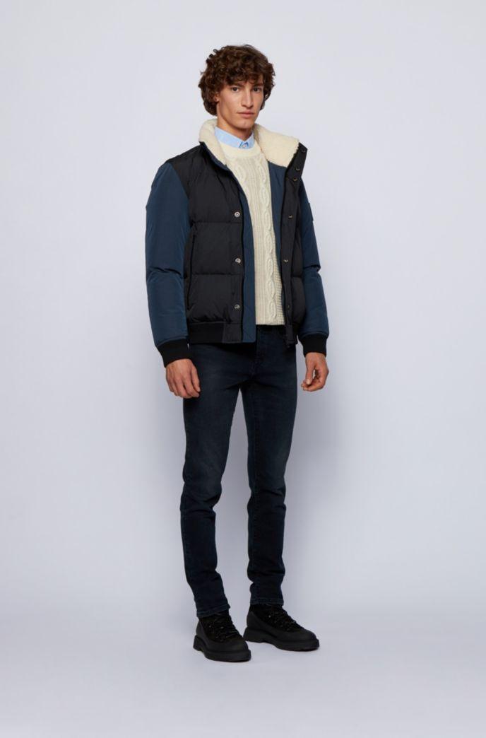 Camisa slim fit de algodón Oxford con logo en tejido jacquard