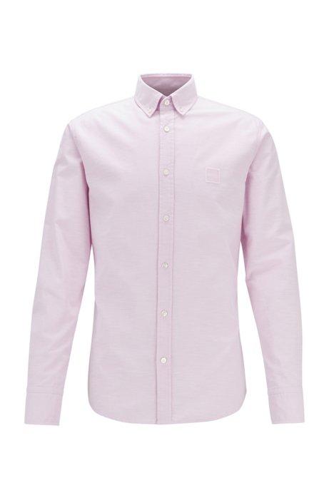 Slim-fit overhemd van oxfordkatoen met jacquardgeweven logopatch, Donkerroze