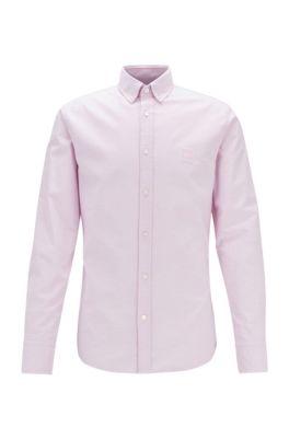 Camisa slim fit de algodón Oxford con logo en tejido jacquard, Rosa oscuro