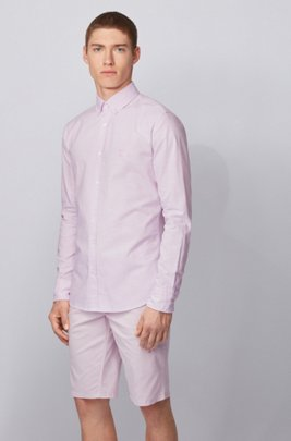 Oxford-cotton slim-fit shirt with jacquard logo patch, Dark pink
