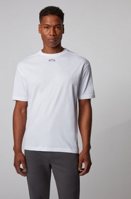 Cotton T-shirt with front and rear logos, White