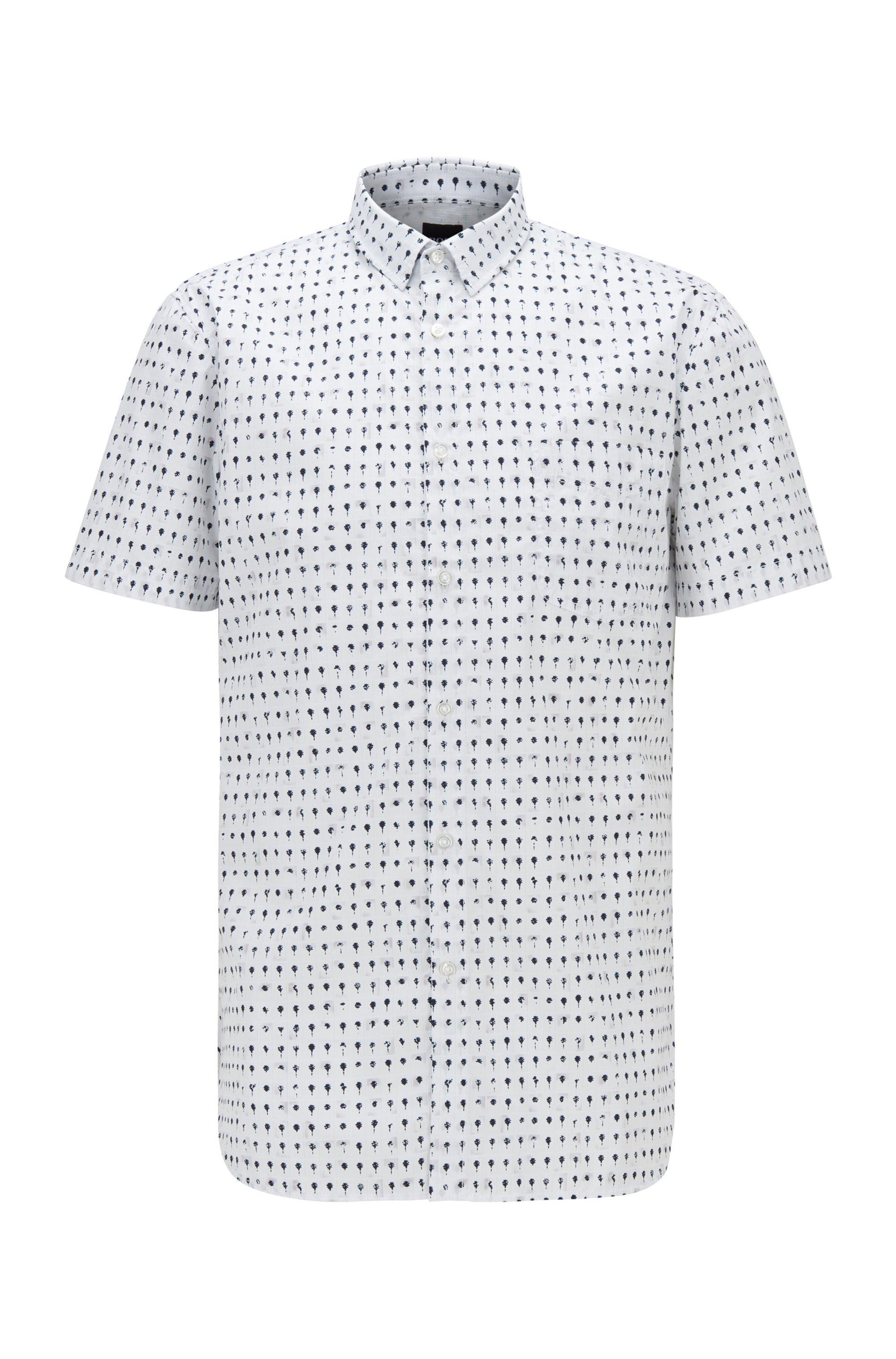 Slim-fit overhemd van popeline van een katoenmix met fotoprint, Wit