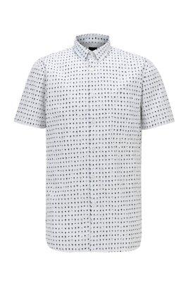 Slim-Fit Hemd aus Popeline mit Foto-Print, Weiß
