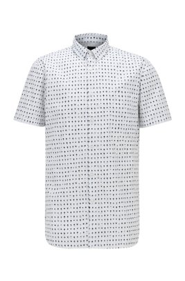 Photo-print slim-fit shirt in cotton-blend poplin, White