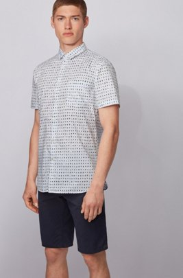 Photo-print slim-fit shirt in cotton-blend poplin, White