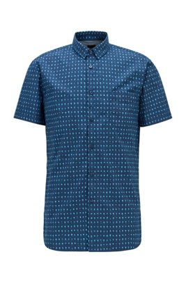 Photo-print slim-fit shirt in cotton-blend poplin, Dark Blue