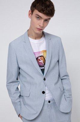 Extra-slim-fit jacket in striped cotton-blend seersucker, Patterned