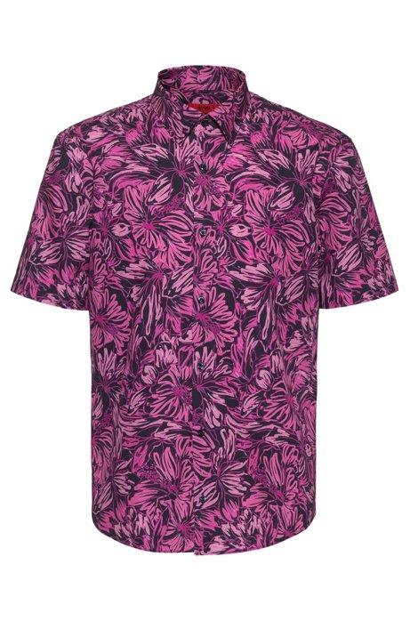 Slim-Fit Hemd aus Baumwolle mit Blumenprint, Gemustert