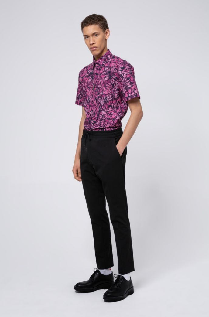 Slim-fit katoenen overhemd met bloemenprint