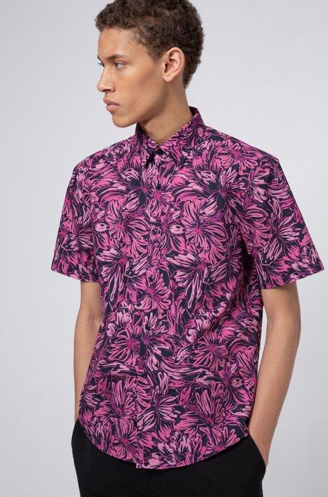 Slim-fit katoenen overhemd met bloemenprint, Bedrukt