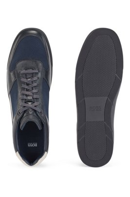 Low-top trainers in leather and mesh, Dark Blue