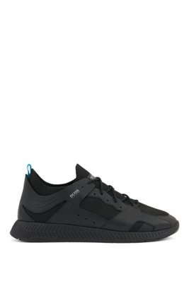 Hiking-inspired trainers with leather facings, Black