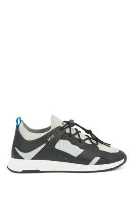 Sneakers stile escursionista con sezioni in pelle, Grigio scuro