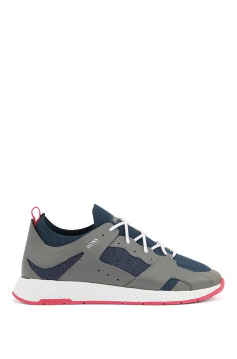 Hiking-inspired trainers with leather facings, Light Grey