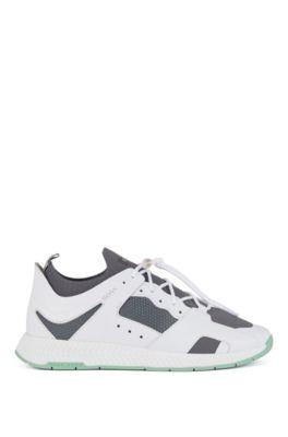 Sneakers met wandelinspiratie, met leren oppervlakken, Wit