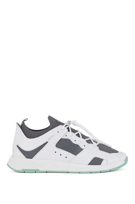 Sneakers aus Leder im Wanderschuh-Stil mit Lederbesätzen, Weiß