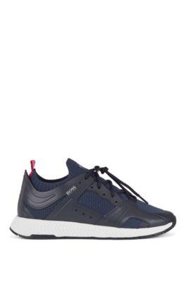 Sneakers aus Leder im Wanderschuh-Stil mit Lederbesätzen, Dunkelblau